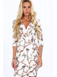 Dámske šaty s viazaním v páse 2085, biele #1