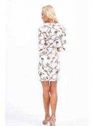 Dámske šaty s viazaním v páse 2085, biele #2