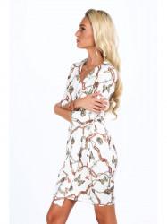 Dámske šaty s viazaním v páse 2085, biele #3