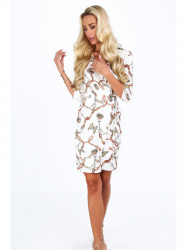 Dámske šaty s viazaním v páse 2085, biele #4