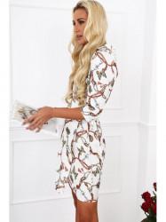 Dámske šaty s viazaním v páse 2085, biele #5
