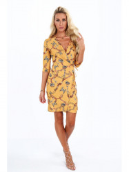 Dámske šaty s viazaním v páse 2085, horčicové