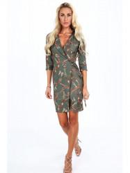 Dámske šaty s viazaním v páse 2085, khaki