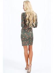 Dámske šaty s viazaním v páse 2085, khaki #2