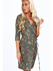Dámske šaty s viazaním v páse 2085, khaki #3