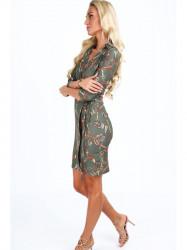 Dámske šaty s viazaním v páse 2085, khaki #4