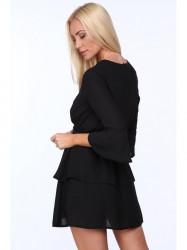 Dámske šaty s viazaním v páse 3035, čierne