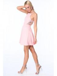 Dámske šaty s viazaním ZZ288, svetlo ružové