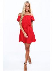 Dámske šaty s volánmi 0261, červené