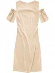Dámske šaty s výrezmi na ramenách 106ART, béžové