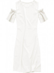 Dámske šaty s výrezmi na ramenách 106ART, biele