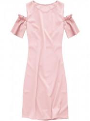 Dámske šaty s výrezmi na ramenách 106ART, ružové