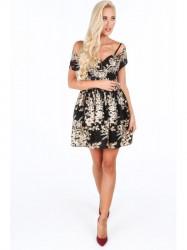 Dámske spoločenské kvetinové šaty G5193, čierne/zlaté