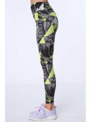 Dámske športové farebné legíny MR16018, čierno-zelené