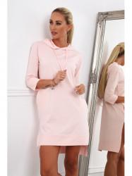 Dámske športové šaty s kapucňou 4187, ružové