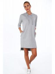 Dámske športové šaty s kapucňou 4187, svetlo sivé