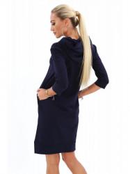 Dámske športové šaty s kapucňou 4187, tmavomodré #2
