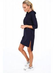 Dámske športové šaty s kapucňou 4187, tmavomodré #3