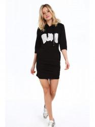 Dámske športové šaty s nápisom 2111, čierne