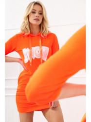 Dámske športové šaty s nápisom 2111, neónovo oranžové