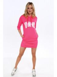 Dámske športové šaty s nápisom 2111, neónovo ružové