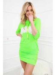 Dámske športové šaty s nápisom 2111, neónovo zelené