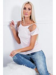 Dámske tričko s aplikáciami ZZ1051, svetlo ružové