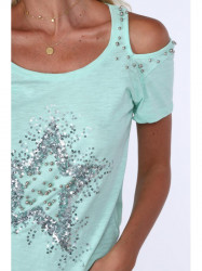 Dámske tričko s aplikáciou ZZ1047, mätové