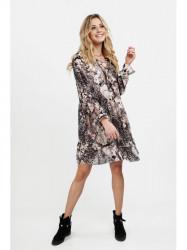 Dámske voľné šaty s volánmi 6772, čierne