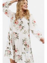 Dámske voľné šaty s volánmi 6772, krémové #1