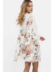 Dámske voľné šaty s volánmi 6772, krémové #2
