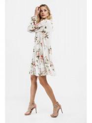 Dámske voľné šaty s volánmi 6772, krémové #3