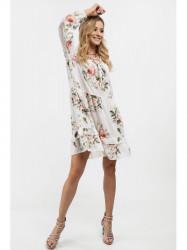 Dámske voľné šaty s volánmi 6772, krémové #4
