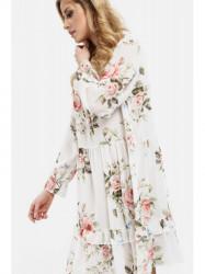 Dámske voľné šaty s volánmi 6772, krémové #5