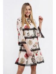 Dámske vzdušné šaty so vzormi 6234, krémové/červené