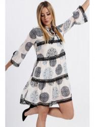 Dámske vzdušné šaty so vzormi 6234, krémové/modré