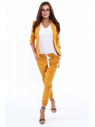Dámske žlté nohavice s gumou v páse 0322