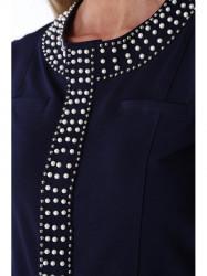 Dámsky blejzer s perlami 16860, tmavo modrý
