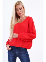 Dámsky červený sveter 10020