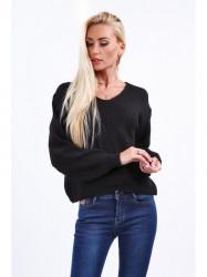 Dámsky čierny sveter 10020