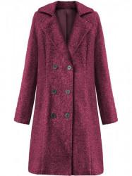 Dámsky dlhý prechodný kabát 18760, bordový