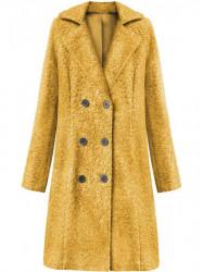 Dámsky dlhý prechodný kabát 18760, horčicový