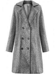 Dámsky dlhý prechodný kabát 18760, sivý