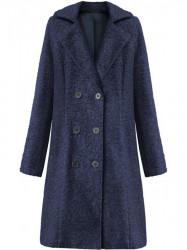 Dámsky dlhý prechodný kabát 18760, tmavo modrý