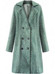 Dámsky dlhý prechodný kabát 18760, zelený