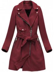 Dámsky dlhý prechodný kabát 8208, bordový
