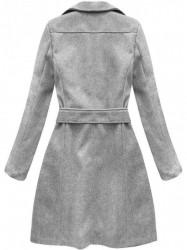 Dámsky dlhý prechodný kabát 8208, sivý