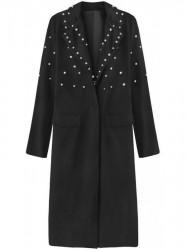 Dámsky dlhý prechodný kabát s perlami 195ART, čierny
