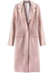 Dámsky dlhý prechodný kabát s perlami 195ART, ružový