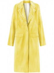 Dámsky dlhý prechodný kabát s perlami 195ART, žltý